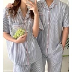 여성 데일리 여름 잠옷 세트 파자마 남녀공용 반팔