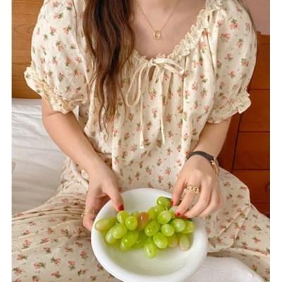 여성 데일리 여름 잠옷 세트 파자마 헤오 플라워