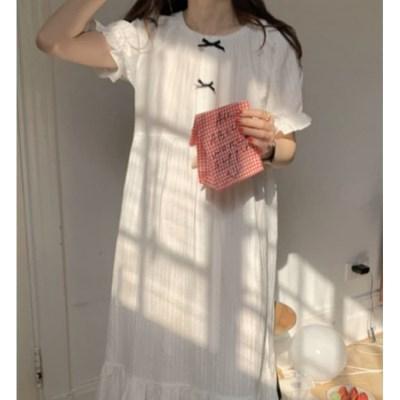 여성 데일리 여름 잠옷 세트 파자마 미밍 리본 원피스