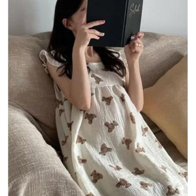 여성 데일리 여름 잠옷 세트 파자마 곰돌이 원피스