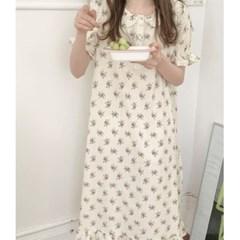 여성 데일리 여름 잠옷 세트 파자마 플라워 풀 원피스