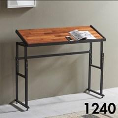 차 한잔의 여유 철제 멀바우 원목 테이블 1240