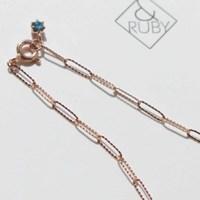 14K 청 러프 다이아몬드 체인 팔찌