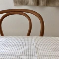 아이보리 수수체크 원형 테이블보