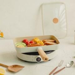 네오플램 피카 사각 브런치팬(유리뚜껑 포함)+원형 인덕션