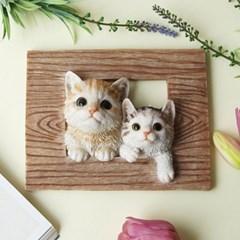 입체 두마리 고양이 액자