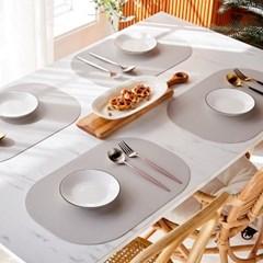 [모던하우스] ON 가죽패턴 실리콘 사각모양 식탁매트 4P세트 그레이