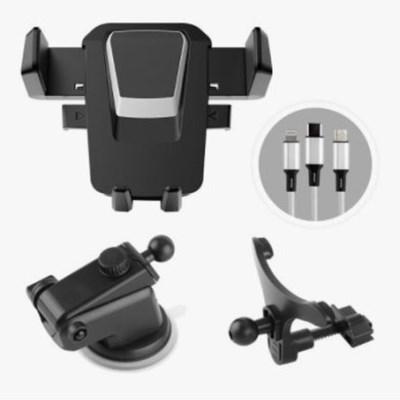 구스페리 핸드폰 거치대 마운트형 송풍구형 + 멀티충전잭 블랙