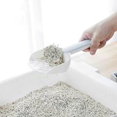 고양이 접착식 모래삽+받침대 세트(그레이)