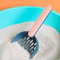 고양이 접착식 모래삽+받침대 세트(핑크)