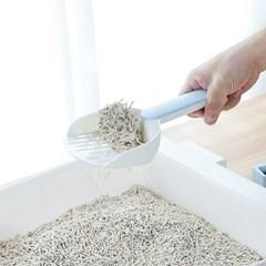 고양이 접착식 모래삽+받침대 세트(스카이)