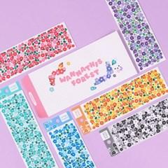 워너디숲의 몽글꽃 스티커 6가지 컬러 세트