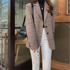 여성 자켓 재킷 퀄팅 캐주얼 아우터 나에르 울 체크
