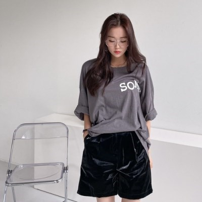 레터링 루즈핏 반팔 롱 티셔츠