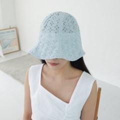 펀칭 레이스 물결 챙넓은 꾸안꾸 버킷햇 벙거지 모자