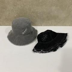 데님 청 빈티지 밑단풀림 패션 버킷햇 벙거지 모자