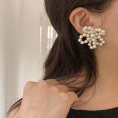 [웨딩][귀찌가능] 왕 진주 꽃 웨딩 촬영 큰 핸드메이드 은침 귀걸이