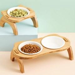 강아지 고양이 밥그릇 원목 세라믹 식기 물그릇 애견 그릇