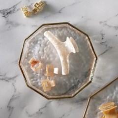 골드라인 투명유리트레이 팔각접시 일자형