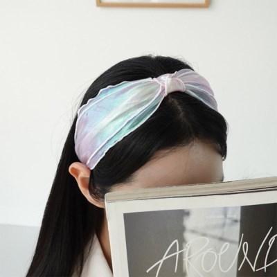 여자 데일리 우주 오로라 꼬임 리본 머리띠 헤어밴드