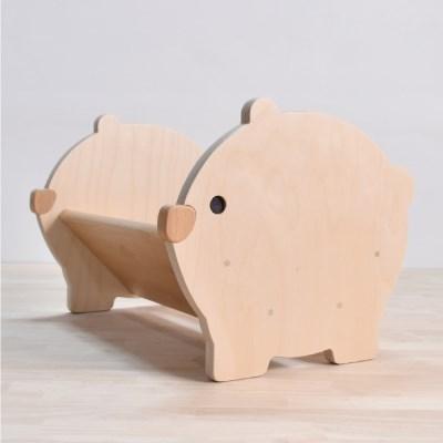 원목 유아책꽂이 아기북극곰 별이
