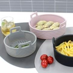 실리콘 에어프라이어 원형 용기 그릇 소1개+중1개