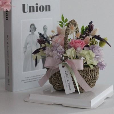 프리저브드 핑크스템수국장미 꽃바구니 선물