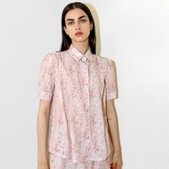 플라워 셔링 핑크 블라우스_Flower Shirring PK BL