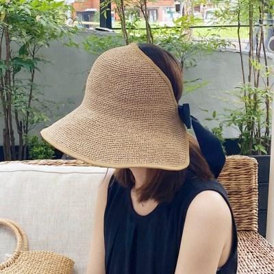 뒷리본 썬캡 핸드메이드 라피아 여성 자외선 차단모자