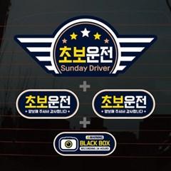 칼라자동차스티커S1_C013_엠블럼 날개 초보운전