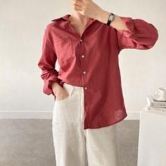 여름 루즈핏 카라 포켓 린넨 면 자개단추 기본 셔츠남방