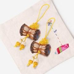 노란색 작은 장구 매듭끈 (3개)