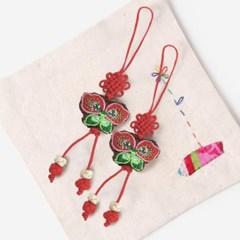적색 작은 나비 매듭끈 (3개)