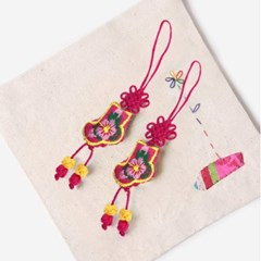 진분홍색 작은 버선 매듭끈 (3개)