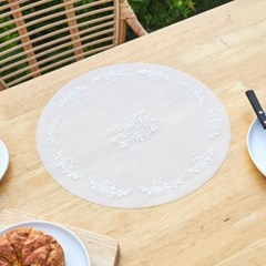 [모던하우스] 뜨왈패턴 실리콘 원형 식탁매트 38cm 화이트