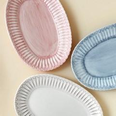 포르투갈 수입 그릇 오벌 타원 접시 3 color