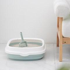 대형 심플 평판형 고양이 화장실 사막화방지 응가삽 포함