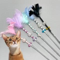 고양이 스트레스해소 사냥놀이 깃털 막대 장난감