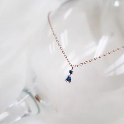 14K 베키 천연 블루 다이아몬드 목걸이