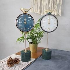 골드 새 원형 대리석 받침 탁상시계 (아이보리 블루)