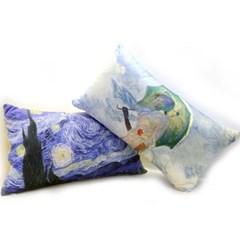 갤러리디엠 명화 초극세사 인테리어 쿠션 50x30 등받이 침대 베개