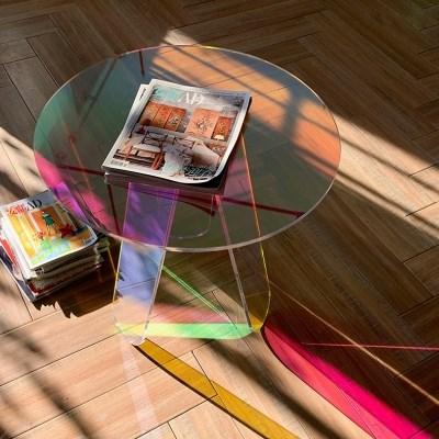 바나코 홀로그램 레인보우 아크릴테이블