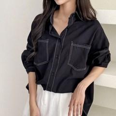 스티치 캐주얼 오피스룩 여성 무지 셔츠