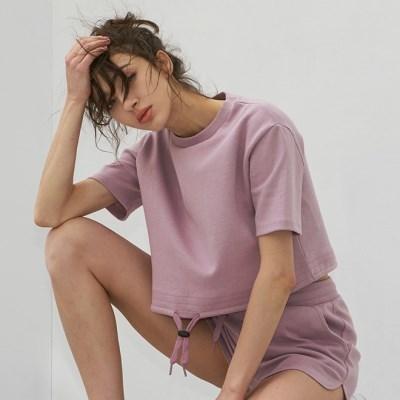 여성 요가복 DEVI-T0062-퍼플 필라테스 스트링 티셔츠 반팔티