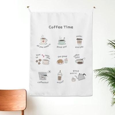 커피타임 일러스트 패브릭포스터