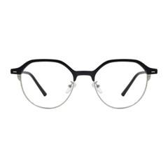 Ian BLACK SILVER 오버사이즈 다각 하금테 안경
