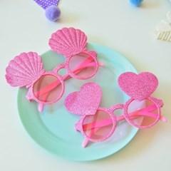 글리터 핑크 하트 조개 안경