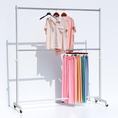 지엔 대형 옷가게 매장용 헹거 와이드 옷걸이 이동식 2단행거