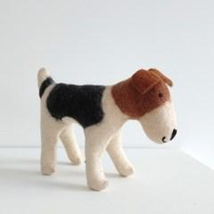 핸드메이드 양모 바둑이 강아지 인형 100%wool
