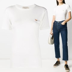 21FW 여성 폭스 패치 반팔 티셔츠 FW00140KJ0012 WH